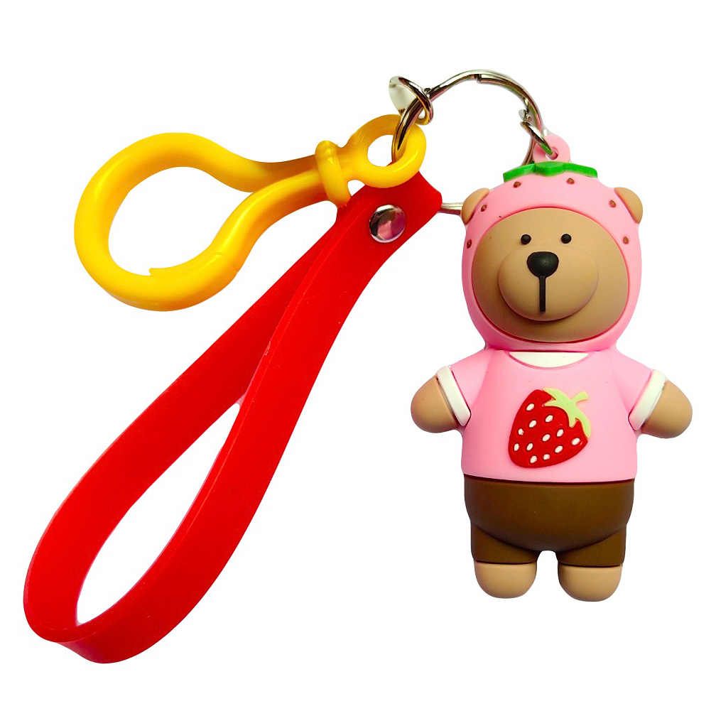 New Cute Cartoon Bear Keychain Gifts For Women Girls Bag Pendant PVC Figure Charms Key Chains Fashion Jewelry Accessories