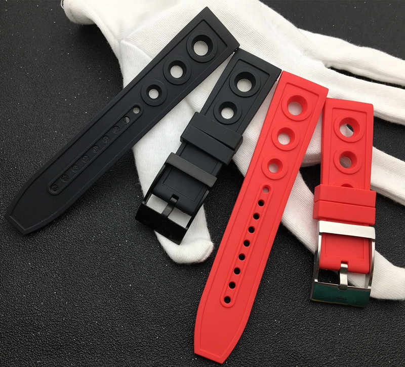 Top brand nature Rubber Watch band 22mm 24mm black red yellow Blue Watchband Bracelet For navitimer/avenger/Breitling strap