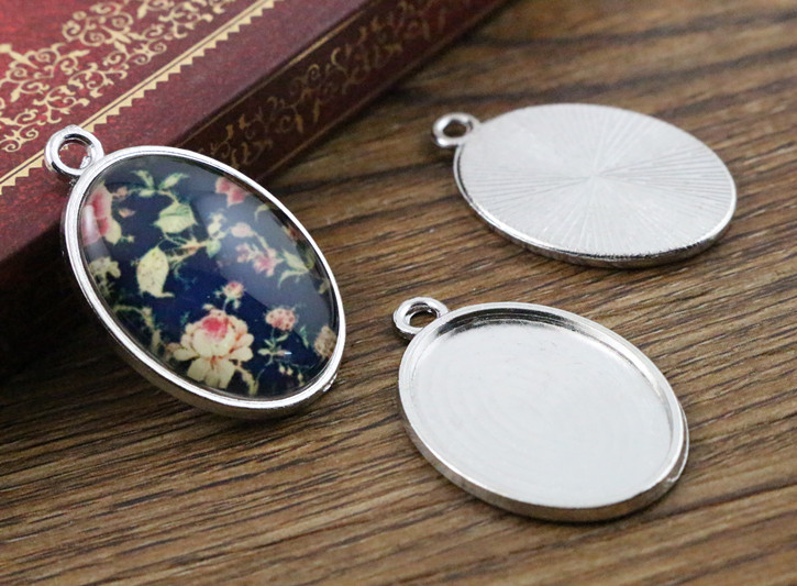 10pcs 18x25mm Inner Size Rhodium Plating Classic Style  Cameo Cabochon Base Setting Charms Pendant Necklace Findings  (C1-32)