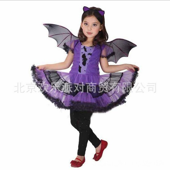 children accessories halloween costume for girl children dance costumes for kids purple bat carrnival costume dress - Accessories For Halloween Costumes