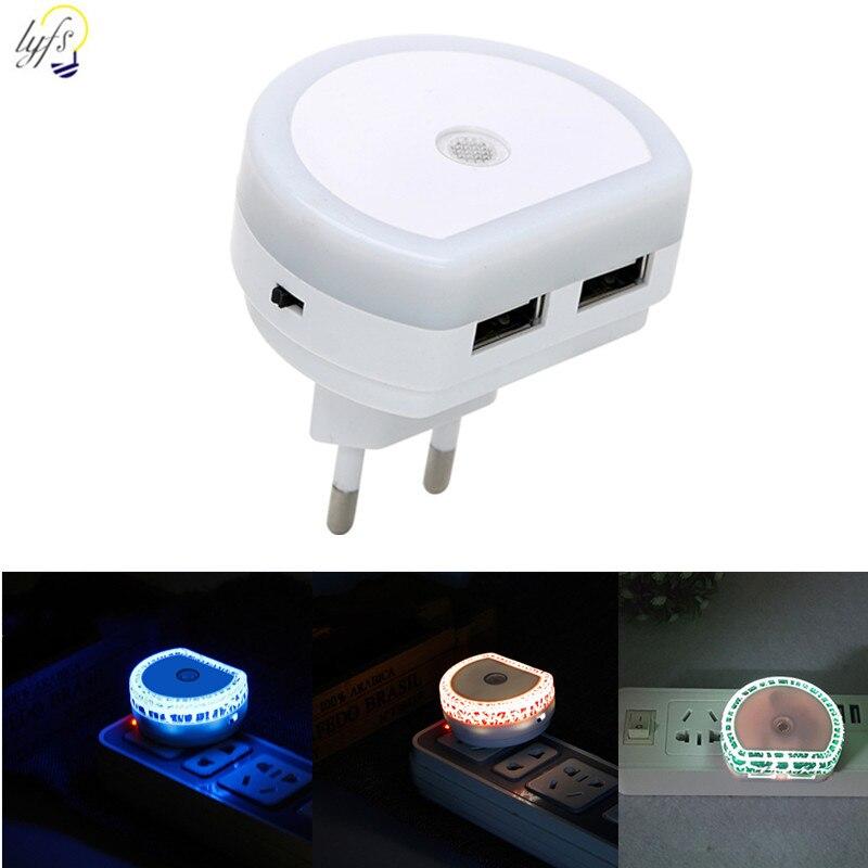 LED Sensor Control Night Light EU US Plug Dual USB Port Lamp For Bedroom Living Room Corridor Night Lights