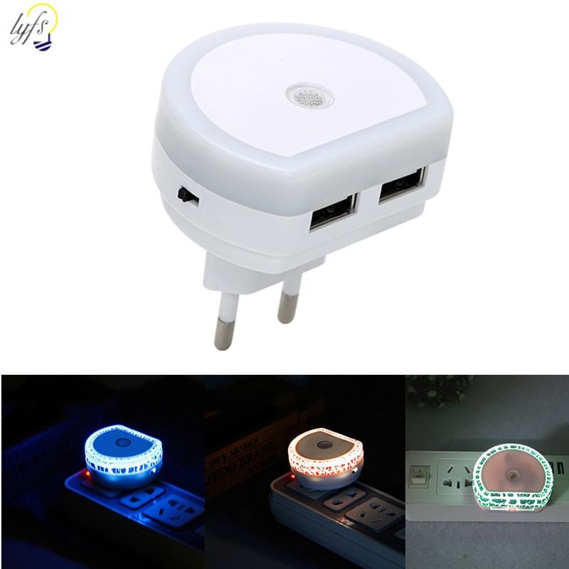 LED Sensor de Control de luz de la noche de la UE nos enchufe de puerto Dual USB Lámpara para dormitorio habitación pasillo luces de la noche LUCKYLED luz LED moderna para espejos 8W 12W AC90-260V montado en la pared lámpara de pared industrial Baño Luz impermeable de acero inoxidable