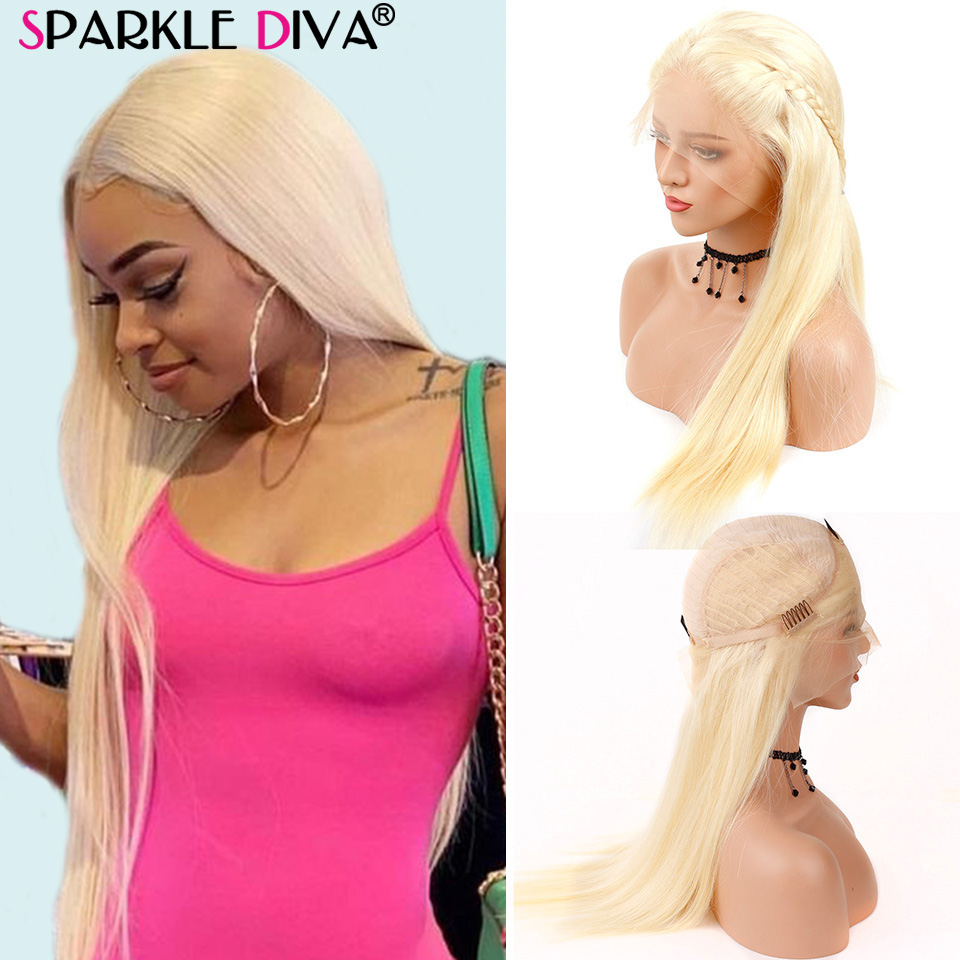 613 Blonde Lace Front Wig Brazilian Straight Human Hair Short Bob Wigs For Black Women 150% Transparent Lace Front Wig Remy Hair