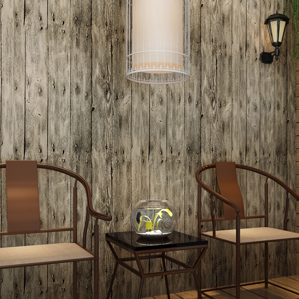 HaokHome Vintage Faux Wood Panel Wallpaper Rolls Khaki Multi 3D Realistic Paper Murals Home Bedroom Living room Wall Decoration
