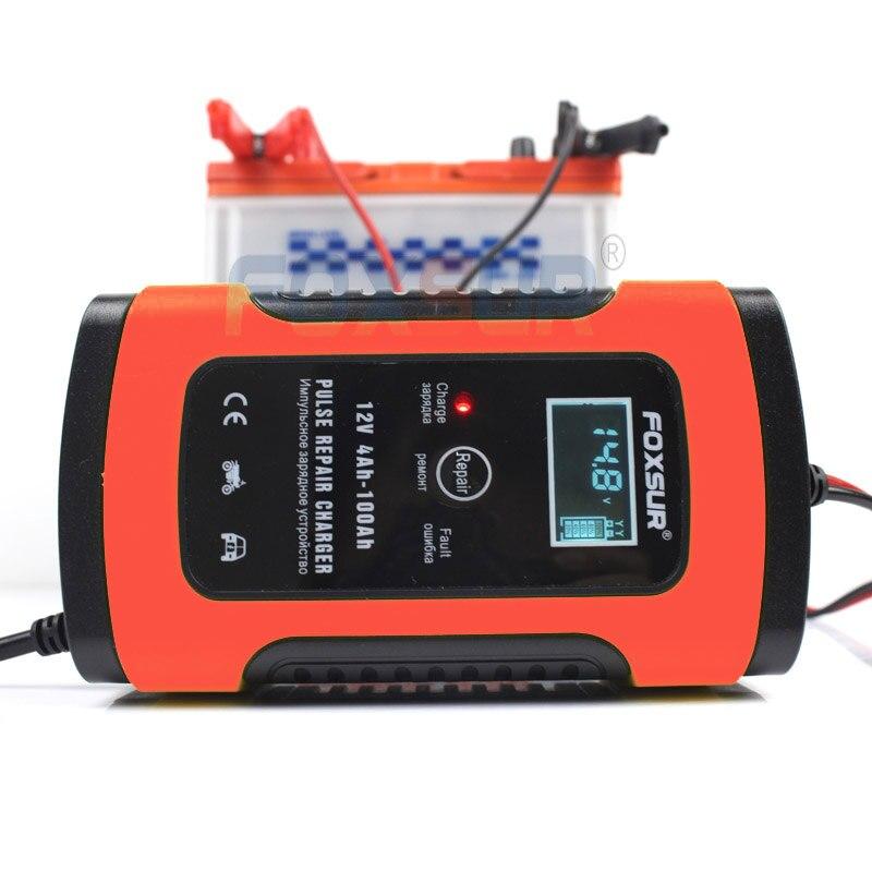 FOXSUR 12 V 4AH-100AH cargador de batería de plomo ácido UPS de la motocicleta y cargador de batería de coche pulso reparación cargador con pantalla LCD