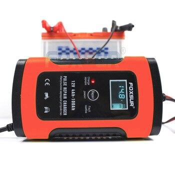 FOXSUR 12V 20Ah 60Ah 100Ah cargador de batería de plomo y ácido UPS motocicleta y coche cargador de batería de pulso cargador de reparación con pantalla LCD