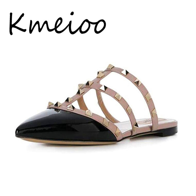 Kmeioo Mules Women,Rivet Mule Shoes Pointed Toe Studded Strappy Flat Sandals Slip On Loafer Slides pointed toe flat mules