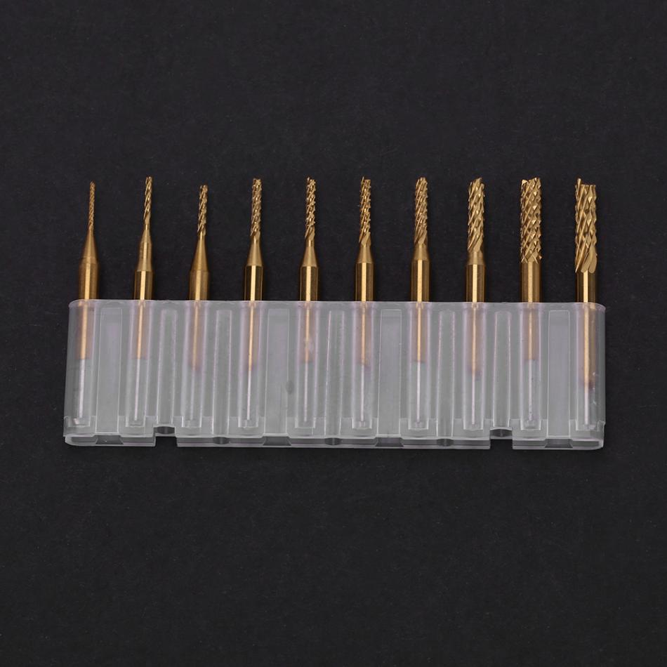 10Pcs 1.2mm Titanium Coat Carbide End Mill Engraving 1//8 Inch Shank