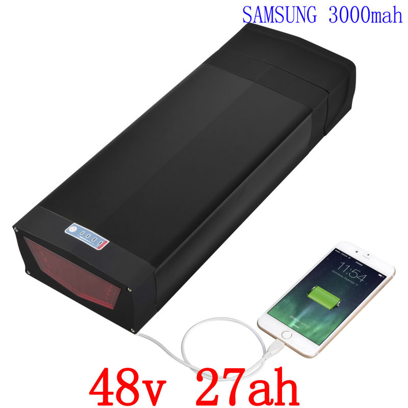 48V Ebike Battery 48V 27AH Rear Rack Li-ion Battery Use for samsung cell with USB port & Tail Light with BMS and 2A charger free customs taxes 48v 20ah 1000w li ion battery pack with 2a charger and 30a bms use for samsung cell lithium battery pack