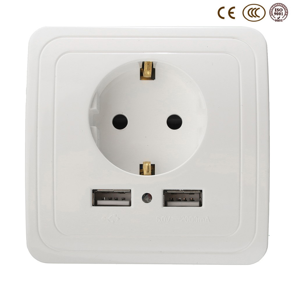 wholesale wall power socket plug grounded 16a eu standard electrical outlet with 2000ma dual. Black Bedroom Furniture Sets. Home Design Ideas