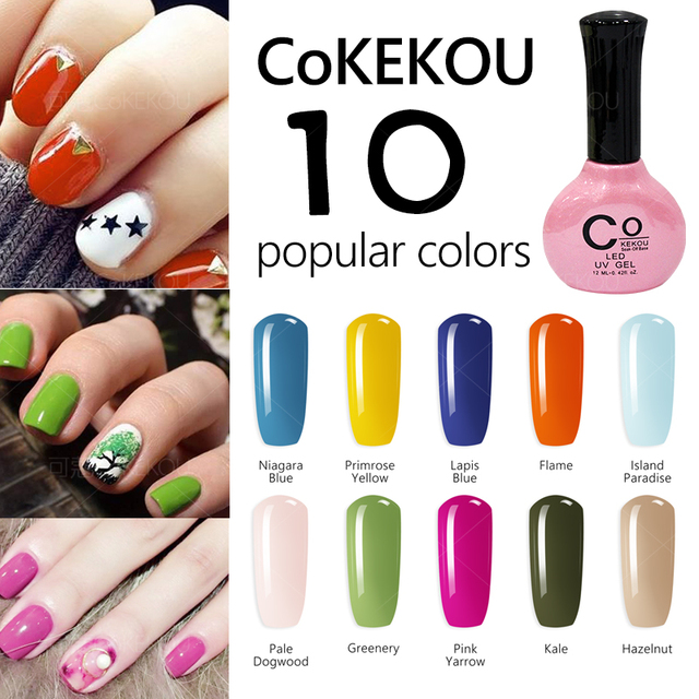 New nail gel 10 fashion colors genuine CoKEKOU soak off blue green ...