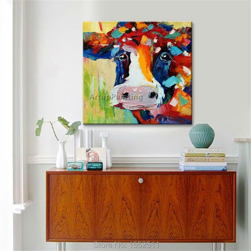 Vaca pintura Sobre Lienzo Animal pintura acrílica Arte de la pared - Decoración del hogar