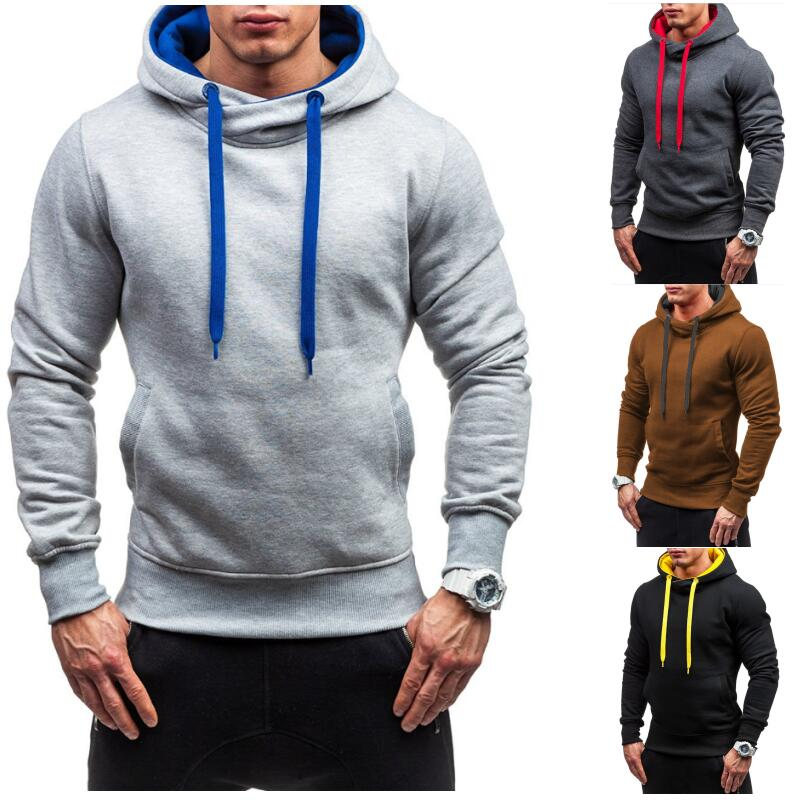 Nuevo macho sudadera Outwear Tops blusa Pullover Casual ropa deportiva hombres Tracksuits sudaderas Otoño Invierno sólido con capucha Hoodi