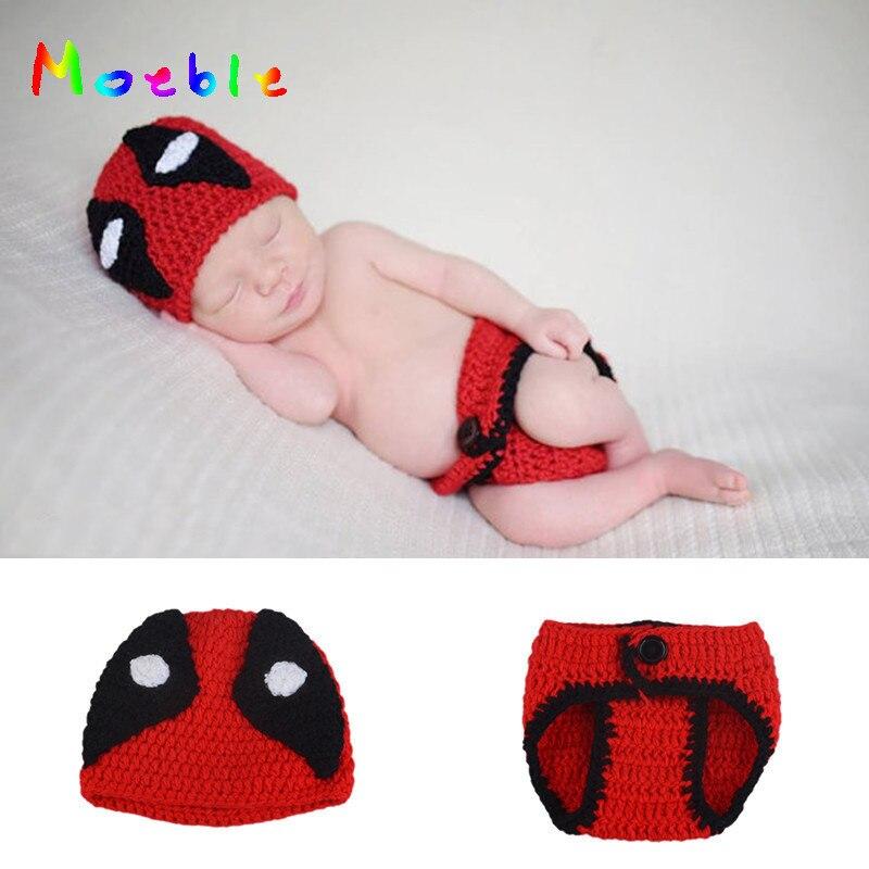 R5647 Infantil Baby Meninos Deadpool Set Para Fotografia De Crochê Malha Bebê Dos Desenhos Animados Costume Newborn Fotografia Props Hat E Diaper