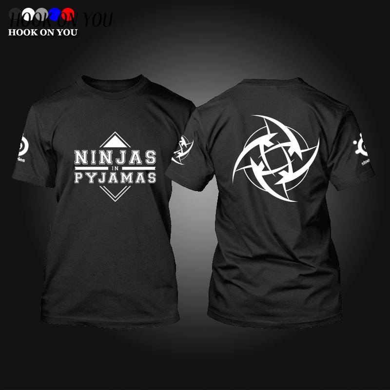 Game Team DOTA 2 Jersey Ninjas in Pyjamas T Shirt CSGO LOL DOTA2 short sleeve Men NIP t-shirt fast dry 100% cotton TEES