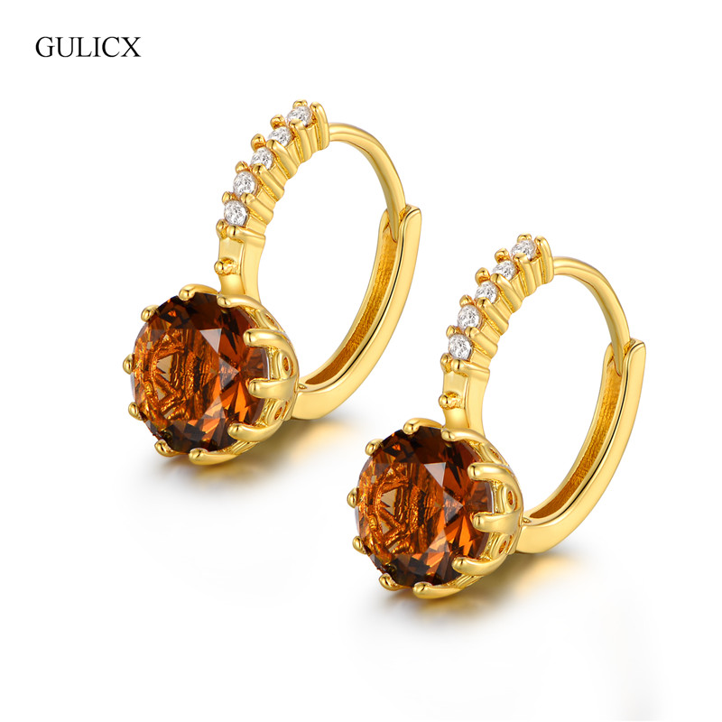 Best Quality Fashion Yellow Pure Gold color CZ Element Stud ...