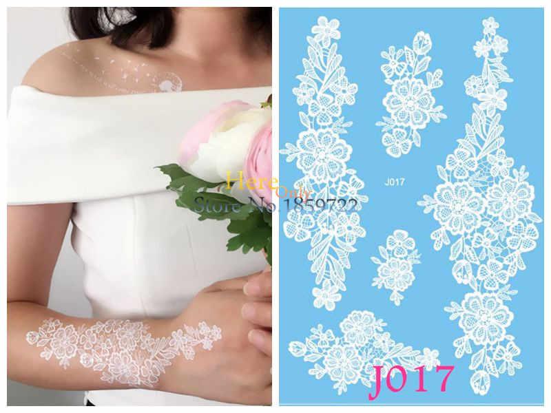 Yıkanabilir beyaz kına dövme çıkartmalar sahte kol kol dövmeler gelin için tatouages ephemeres düğün dövmeler kına