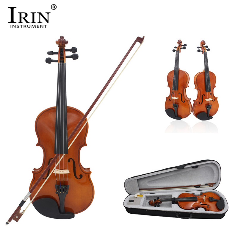 IRIN 4/4 Full Size Natural Acoustic Violin Basswood Fiddle with Case Bow Rosin Instrument For Kids Student Beginners Violins Set image