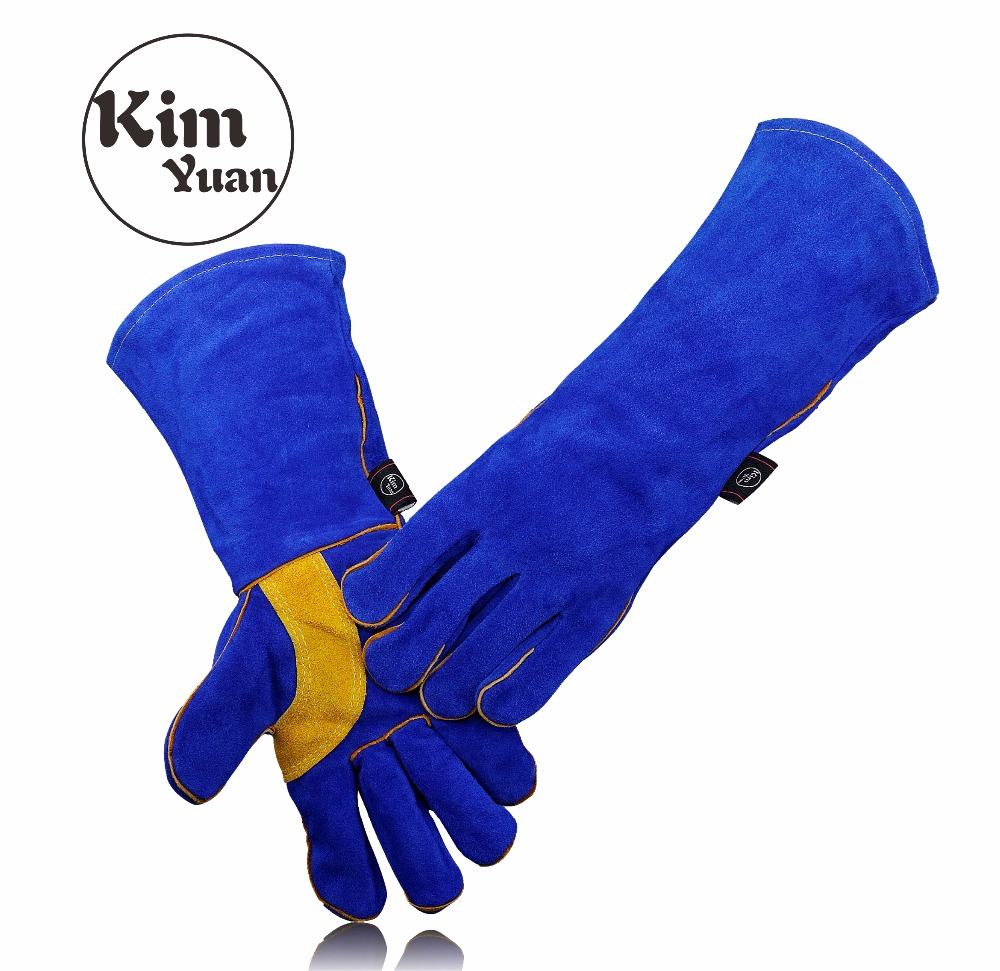 KIM YUAN 005/6/9/11L Leather Welding Gloves-Heat/Fire Resistant, for Welder/Oven/Fireplace/Animal Handling/BBQ -Blue 14&16in