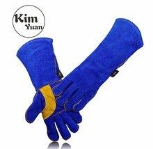 Ким юаней 005/6/9/11L кожаные перчатки сварки-Heat/огнестойкие, для сварщика печи/камин/животных обработки/барбекю-синий 14 и 16in