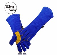 KIM YUAN 005 6 9 11L Leather Welding Gloves Heat Fire Resistant For Welder Oven Fireplace