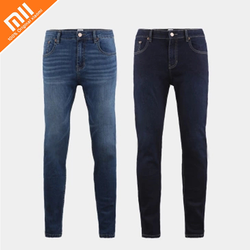 Original xiaomi COTTONSMITH men's high-elastic comfortable jeans trousers narrow feet fashion wild summer cool jeans HOT edging design bleach wash zipper fly narrow feet slimming men s jeans