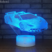 Car Shape 3D Lamp Bedroom Table Lamps Night Light Acrylic Panel USB Cable 7 Colors Change Touch Base Lamp Kids Gift недорого