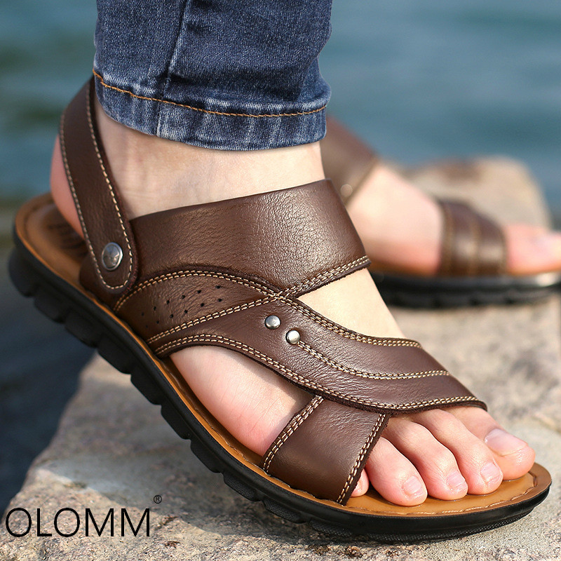 Men Sandals Slippers Men's Shoes Genuine-Leather Casual Summer Fashion