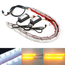 2pcs Flexible LED Strip DRL Daytime Running Light Waterproof Sequential Flow Headlight Switchback Runners Corner Turn Signal DRL(China)