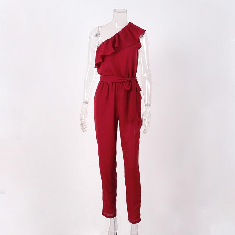 rompers womens jumpsuit summer 2018 overalls plus size jumpsuits streetwear off shoulder ruffle chiffon jumpsuits pants DC17608