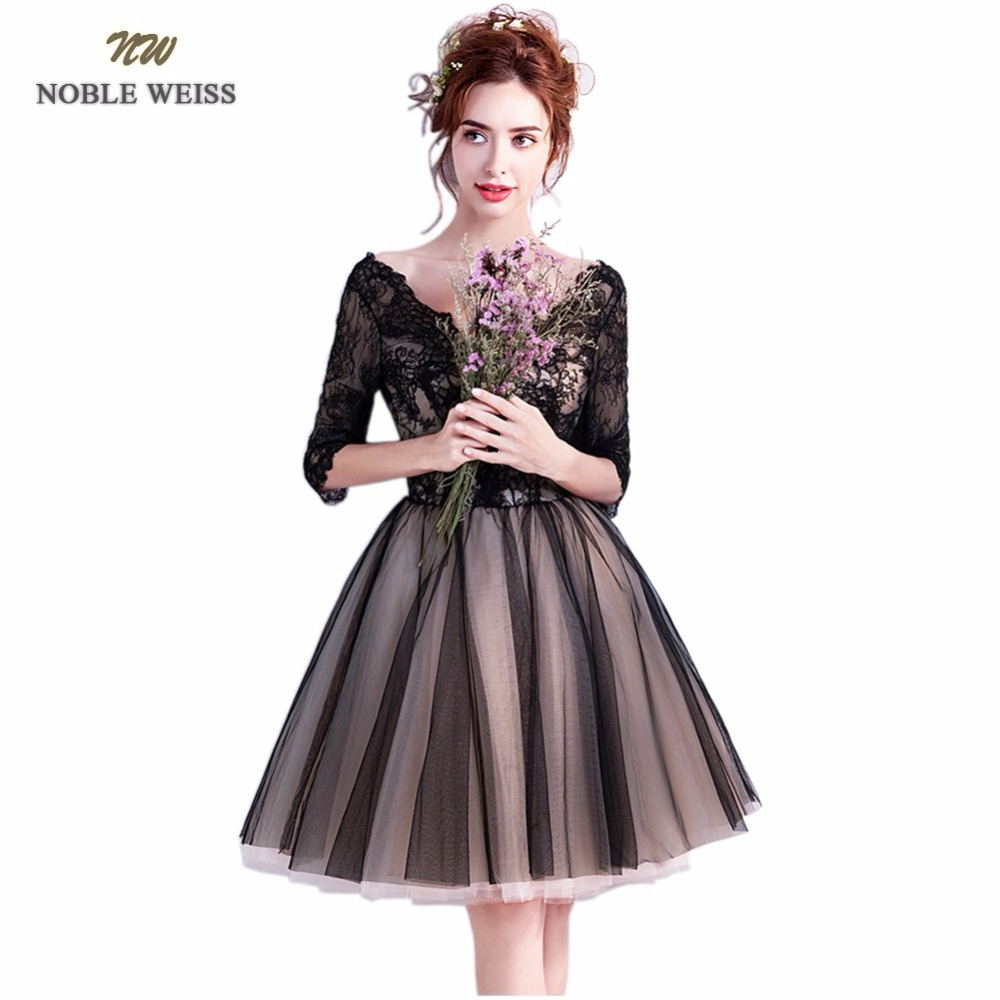 NOBLE WEISS Knee-Length Tull Lace Prom Dress 2019 Customized Fashion V-Neck Party Gown Dresses With Three Quarter Sleeves