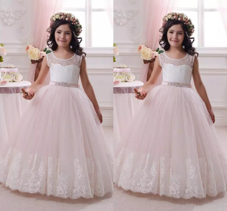 2017 New Flower Girls Dresses For Weddings Jewel Lace Appliques Princess Girls Pageant Dress First Communion Dress hl083 new new fashion men s scrub genuine leather baseball winter warm baseball hat cap 2colors