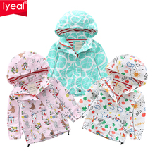 лучшая цена IYEAL Baby Girls Jacket 2019 Autumn Spring Jacket For Girls Hooded Coat Kids Outerwear For Girls Windbreaker Children Clothes