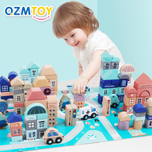 Wooden Blocks Building Children for Birthday-Gift 133pcs Assembled City-Scenes Toy Kids