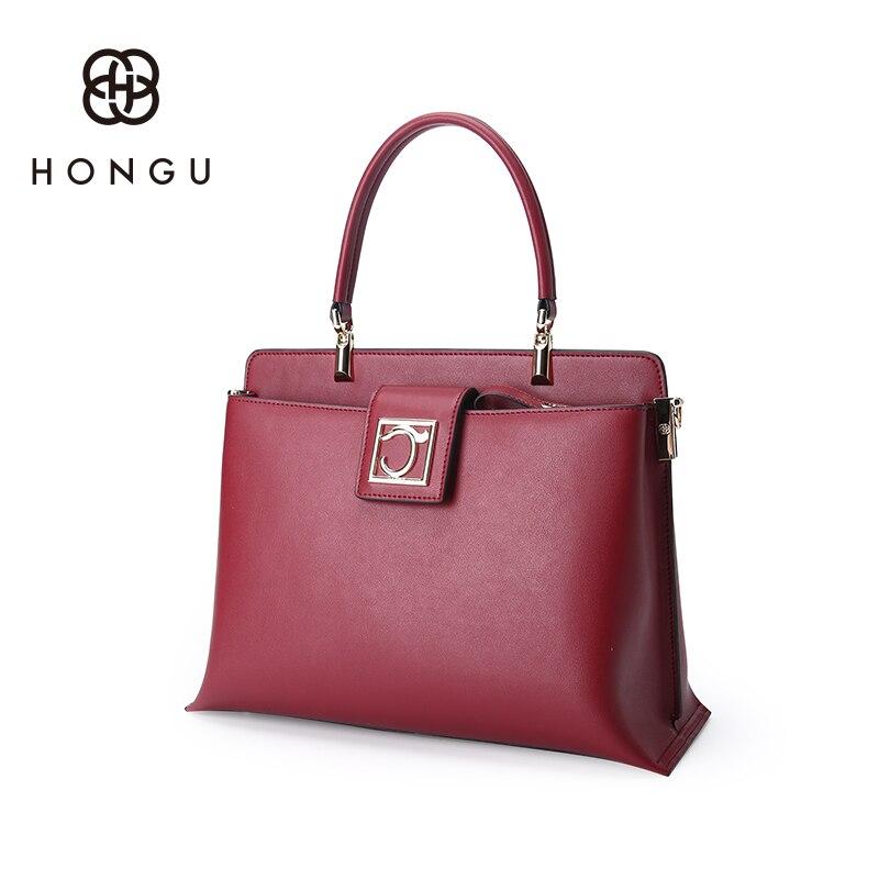 Hongu Light Luxury Genuine Leather font b Women b font Hasp Tote handbags Famous Brands Lady