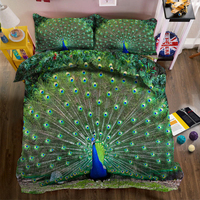 3D effect photo Peacock Panda bed linen can be customized photo pattern