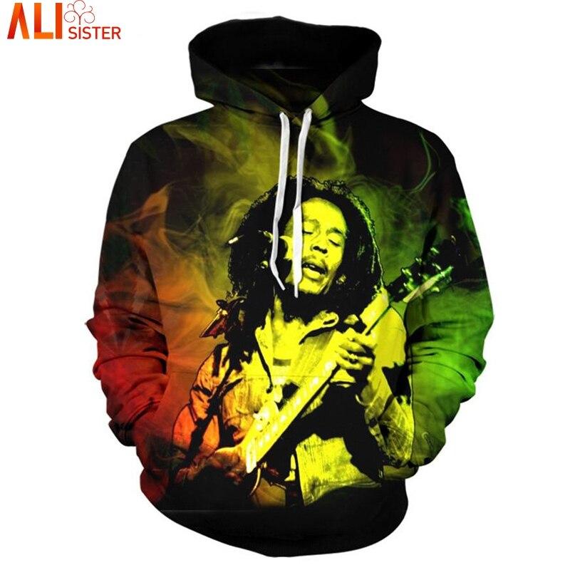 Bob Marley Hoodies Sweatshirt Men's Punk Outwear Alisister Brand Clothing Plus Size Tracksuit Unisex Autumn Winter Pullover