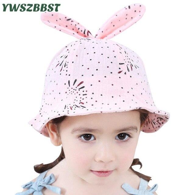 abff9ee8a95 New Summer Girls Sun Hats Cute Rabbit Ears Toddler Baby Girls Hat Kids  Beach Bucket Cap Children Sunscreen Cap Accessories