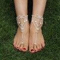 Strass Anel Do Dedo Do Pé Tornozeleiras para As Mulheres Moda Casamento Jóias Pé Descalço Sandálias 1 PC 1K4011