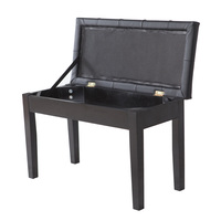 Storage Piano Bench Black Plaid Faux Leather Living Room Stool HOT SALE