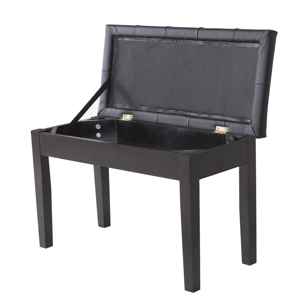 Storage piano bench black plaid faux leather living room for Living room stools