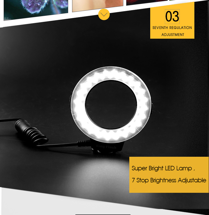 Travor RF 550D LED Macro Ring Flash light with 8 adapter ring For Nikon Canon Panasonic Camera 17