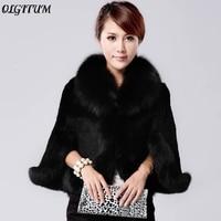 HOT!2019 NEW fashion Black And White Fur Overcoat Imitation Rabbit Fur Faux Fox Collar Fur Coat Mink Hair Rabbit Hair Jacket