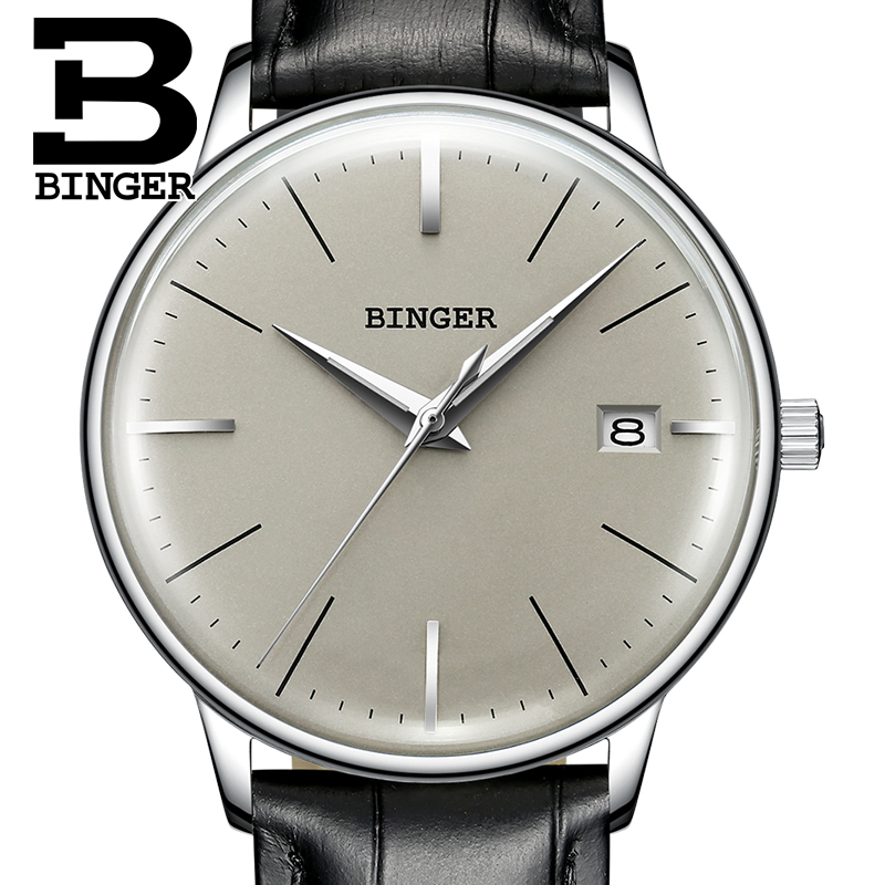 Automatic Mechanical Watch Men Switzerland Waterproof Men's Watches Luxury Brand BINGER Leather Steel Watch sapphire montre