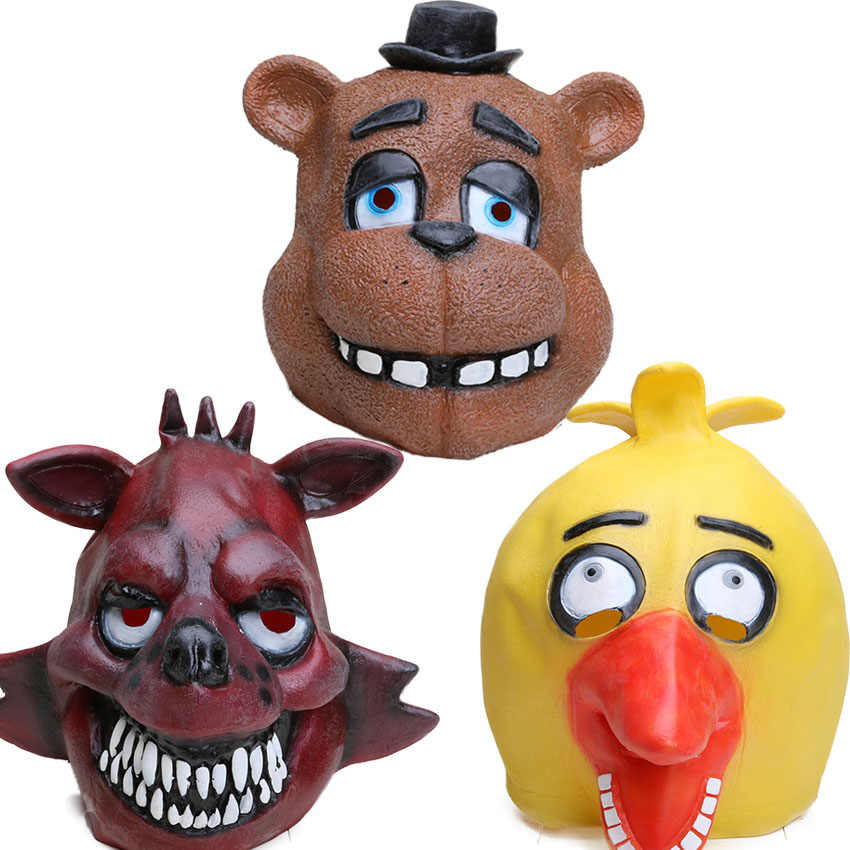 Freddy Fazebear Chica Foxy Full Face Latex Mask Five Nights At Freddy's Costume Toys FNAF Halloween Horror Mask Brinqudoes bebe