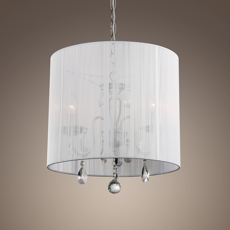 New modern 3 lights crystal drum black white shade round for New modern lighting