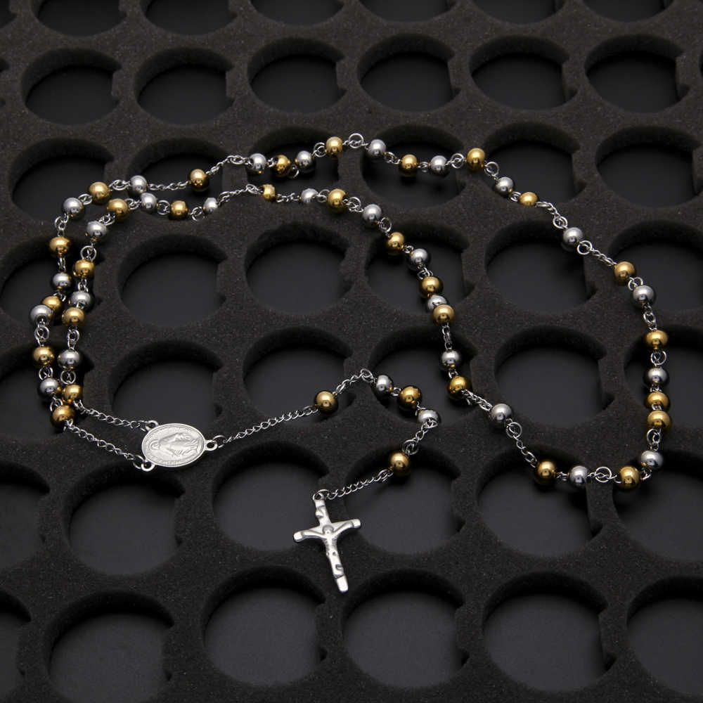 Hip Hop Religious Stainless Steel Necklace Men Jewelry or Women Catholic Rosary Beads Chain Necklace Cross For Christmas Gift