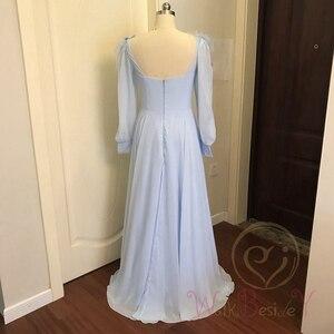 Image 3 - Небесно Голубые Вечерние платья с длинными рукавами из шифона с перьями, а силуэта, бальное платье для выпускного вечера, 2020, прогулка рядом с вами