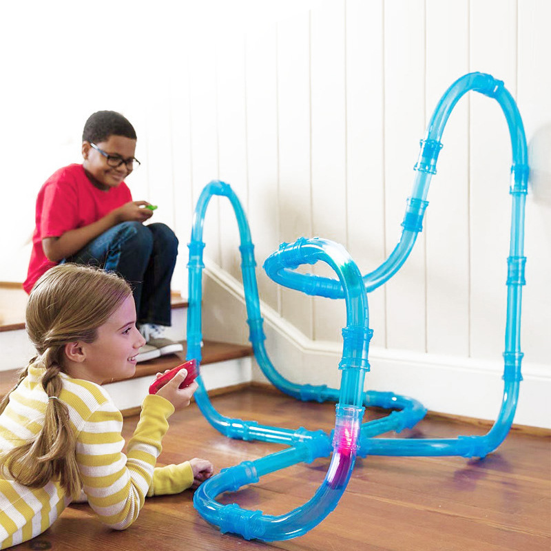Children's Educational Assembled Remote Control Rail Car Electric Luminous High-speed Pipeline Track Competitive Racing Toy