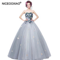 Grey Strapless Princess Bride Banquet Long Evening Dresses Lace Embroidery With Appliques Party Gown Women Elegant